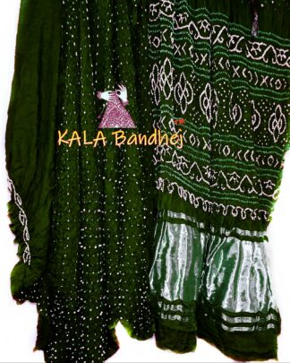 Dark Green GajiSilk LagdiPalav Bandhani Saree
