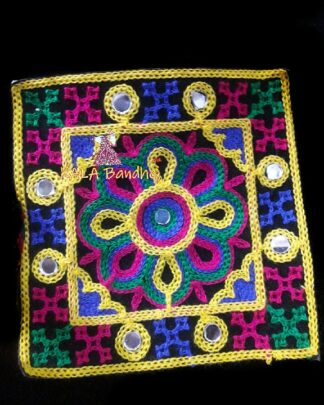 Black #9 Square Kutchi Work Patch