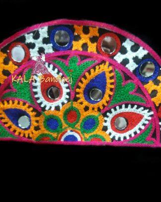 Black Semi-Circle Kutchi Work Patch