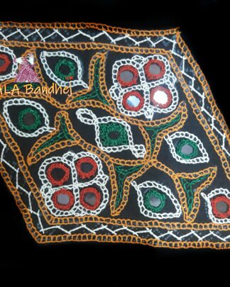 Black Kaju Katli Kutchi Work Patch
