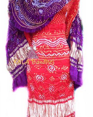Red GajiSilk Bandhani DressMaterial - Jambli